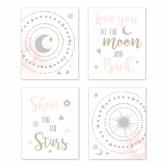 Blush Pink, Gold, Grey and White Star and Moon Wall Art Prints Room Decor for Baby, Nursery, and Kids for Celestial Collection by Sweet Jojo Designs - Set of 4 - Shoot for the Stars