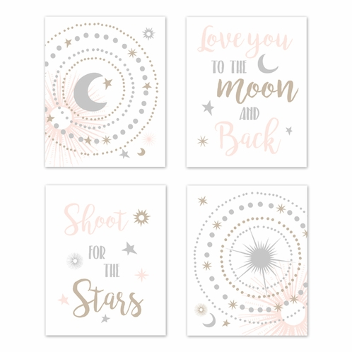 Blush Pink, Gold, Grey and White Star and Moon Wall Art Prints Room Decor for Baby, Nursery, and Kids for Celestial Collection by Sweet Jojo Designs - Set of 4 - Shoot for the Stars - Click to enlarge
