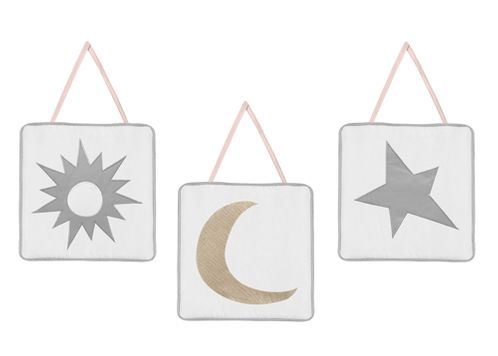 Blush Pink, Gold, Grey and White Star and Moon Wall Hanging Decor for Celestial Collection by Sweet Jojo Designs - Set of 3 - Click to enlarge