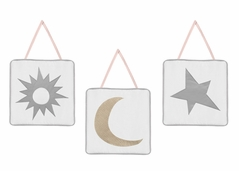 Blush Pink, Gold, Grey and White Star and Moon Wall Hanging Decor for Celestial Collection by Sweet Jojo Designs - Set of 3