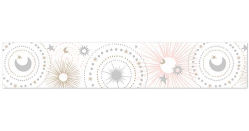 Blush Pink, Gold, Grey and White Star and Moon Wallpaper Wall Border for Celestial Collection by Sweet Jojo Designs - Click to enlarge