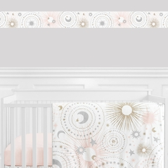 Blush Pink, Gold, Grey and White Star and Moon Wallpaper Wall Border for Celestial Collection by Sweet Jojo Designs