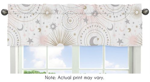 Blush Pink, Gold, Grey and White Star and Moon Window Treatment Valance for Celestial Collection by Sweet Jojo Designs - Click to enlarge