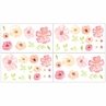 Blush Pink, Green and White Peel and Stick Wall Decal Stickers Art Nursery Decor for Black Watercolor Floral Collection by Sweet Jojo Designs - Set of 4 Sheets - Rose Flower