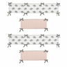 Blush Pink, Grey and White Baby Crib Bumper Pad for Watercolor Elephant Safari Collection by Sweet Jojo Designs