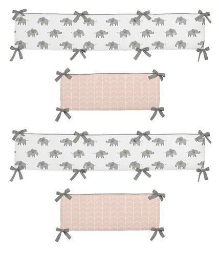 Blush Pink, Grey and White Baby Crib Bumper Pad for Watercolor Elephant Safari Collection by Sweet Jojo Designs - Click to enlarge