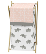 Blush Pink, Grey and White Baby Kid Clothes Laundry Hamper for Watercolor Elephant Safari Collection by Sweet Jojo Designs
