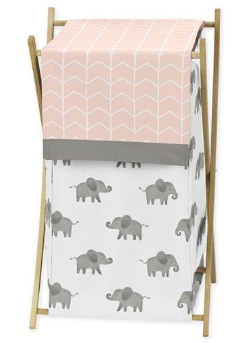 Blush Pink, Grey and White Baby Kid Clothes Laundry Hamper for Watercolor Elephant Safari Collection by Sweet Jojo Designs - Click to enlarge