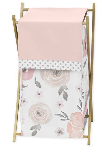 Blush Pink, Grey and White Baby Kid Clothes Laundry Hamper for Watercolor Floral Collection by Sweet Jojo Designs - Click to enlarge