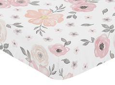 Blush Pink, Grey and White Baby or Toddler Fitted Crib Sheet for Watercolor Floral Collection by Sweet Jojo Designs