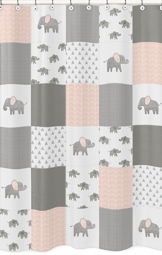 Blush Pink, Grey and White Bathroom Fabric Bath Shower Curtain for Watercolor Elephant Safari Collection by Sweet Jojo Designs - Click to enlarge