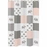 Blush Pink, Grey and White Bathroom Fabric Bath Shower Curtain for Watercolor Elephant Safari Collection by Sweet Jojo Designs
