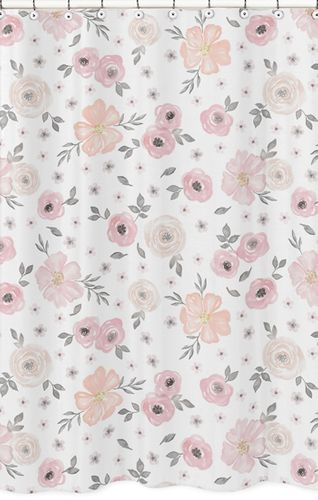 Blush Pink, Grey and White Bathroom Fabric Bath Shower Curtain for Watercolor Floral Collection by Sweet Jojo Designs - Click to enlarge