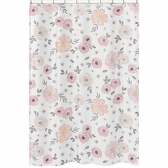 Blush Pink, Grey and White Bathroom Fabric Bath Shower Curtain for Watercolor Floral Collection by Sweet Jojo Designs