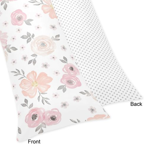 Blush Pink, Grey and White Body Pillow Case Cover for Watercolor Floral Collection by Sweet Jojo Designs (Pillow Not Included) - Click to enlarge