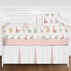 Blush Pink, Grey and White Boho Llama and Cactus Baby Girl Crib Bedding Set with Bumper by Sweet Jojo Designs - 9 pieces