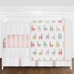 Blush Pink, Grey and White Boho Llama and Cactus Baby Girl Crib Bedding Set without Bumper by Sweet Jojo Designs - 4 pieces
