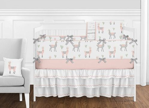 Blush Pink, Grey and White Boho Llama Cactus Baby Girl Nursery Crib Bedding Set with Bumper by Sweet Jojo Designs - 9 pieces - Click to enlarge