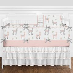 Blush Pink, Grey and White Boho Llama Cactus Baby Girl Nursery Crib Bedding Set with Bumper by Sweet Jojo Designs - 9 pieces