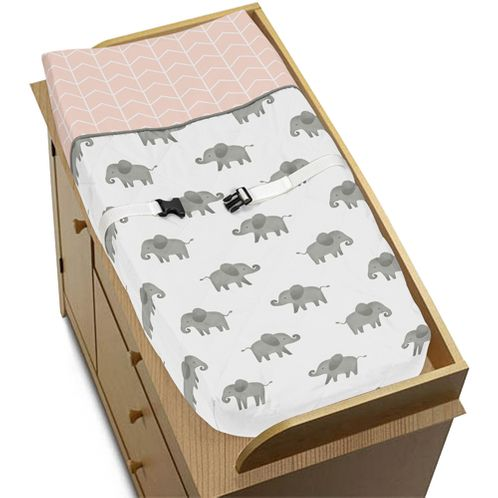 Blush Pink, Grey and White Changing Pad Cover for Watercolor Elephant Safari Collection by Sweet Jojo Designs - Click to enlarge