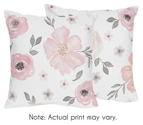 Blush Pink, Grey and White Decorative Accent Throw Pillows for Watercolor Floral Collection by Sweet Jojo Designs - Set of 2 - Click to enlarge