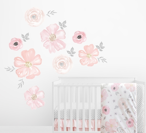 Blush Pink, Grey and White Large Peel and Stick Wall Mural Decal Stickers Art Nursery Decor for Watercolor Floral Collection by Sweet Jojo Designs - Set of 2 Sheets - Click to enlarge