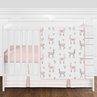Blush Pink, Grey and White Llama and Cactus Boho Baby Girl Nursery Bumperless Crib Bedding Set by Sweet Jojo Designs - 4 pieces