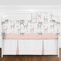 Blush Pink, Grey and White Llama and Cactus Boho Baby Girl Nursery Crib Bedding Set with Bumper by Sweet Jojo Designs - 9 pieces