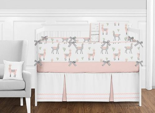 Blush Pink, Grey and White Llama and Cactus Boho Baby Girl Nursery Crib Bedding Set with Bumper by Sweet Jojo Designs - 9 pieces - Click to enlarge