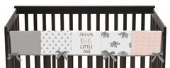 Blush Pink, Grey and White Long Front Crib Rail Guard Baby Teething Cover Protector Wrap for Watercolor Elephant Safari Collection by Sweet Jojo Designs