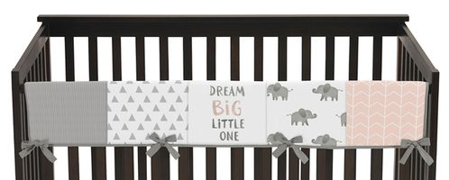 Blush Pink, Grey and White Long Front Crib Rail Guard Baby Teething Cover Protector Wrap for Watercolor Elephant Safari Collection by Sweet Jojo Designs - Click to enlarge