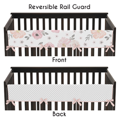Blush Pink, Grey and White Long Front Crib Rail Guard Baby Teething Cover Protector Wrap for Watercolor Floral Collection by Sweet Jojo Designs