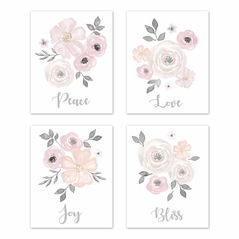 Blush Pink, Grey and White Love Peace Joy Bliss Wall Art Prints Room Decor for Baby, Nursery, and Kids for Watercolor Floral Collection by Sweet Jojo Designs - Set of 4