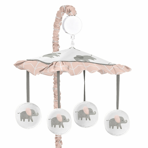 Blush Pink, Grey and White Musical Baby Crib Mobile for Watercolor Elephant Safari Collection by Sweet Jojo Designs - Click to enlarge