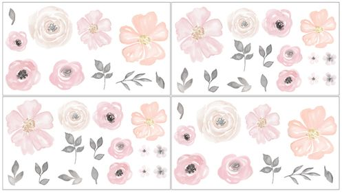 Blush Pink, Grey and White Peel and Stick Wall Decal Stickers Art Nursery Decor for Watercolor Floral Collection by Sweet Jojo Designs - Set of 4 Sheets - Click to enlarge