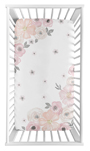 Blush Pink, Grey and White Photo Op Baby or Toddler Fitted Crib Sheet for Watercolor Floral Collection by Sweet Jojo Designs