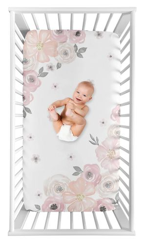Blush Pink, Grey and White Photo Op Baby or Toddler Fitted Crib Sheet for Watercolor Floral Collection by Sweet Jojo Designs - Click to enlarge