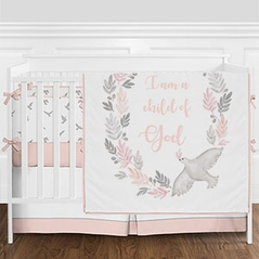 Blush Pink, Grey and White Religious I Am a Child of God Watercolor Bird Baby Girl Crib Bedding Set with Bumper by Sweet Jojo Designs - 9 pieces
