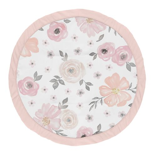 Blush Pink, Grey and White Shabby Chic Playmat Tummy Time Baby and Infant Play Mat for Watercolor Floral Collection by Sweet Jojo Designs - Rose Flower - Click to enlarge