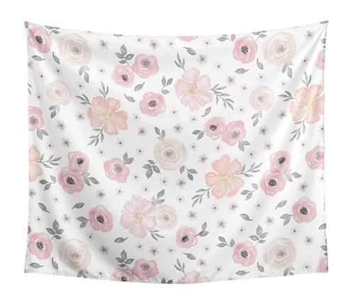 Blush Pink, Grey and White Shabby Chic Wall Hanging Tapestry Art Decor for Watercolor Floral Collection by Sweet Jojo Designs - 50in. x 60in. - Rose Flower - Click to enlarge