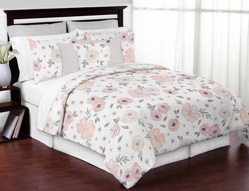 Blush Pink, Grey and White Shabby Chic Watercolor Floral Girl Full / Queen Kid Childrens Bedding Comforter Set by Sweet Jojo Designs - 3 pieces - Rose Flower - Click to enlarge