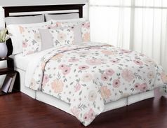 Blush Pink, Grey and White Shabby Chic Watercolor Floral Girl Full / Queen Kid Childrens Bedding Comforter Set by Sweet Jojo Designs - 3 pieces - Rose Flower