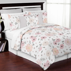 Blush Pink, Grey and White Shabby Chic Watercolor Floral Girl King Size Bed in a Bag Bedding Comforter Set Collection by Sweet Jojo Designs - 3 pieces