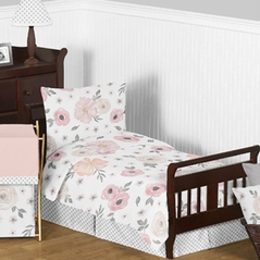Blush Pink, Grey and White Shabby Chic Watercolor Floral Girl Toddler Kid Childrens Bedding Set by Sweet Jojo Designs - 5 pieces Comforter, Sham and Sheets - Rose Flower Polka Dot