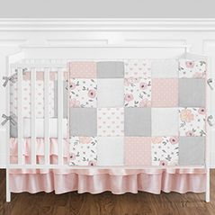 Blush Pink, Grey and White Shabby Chic Watercolor Floral Heart Patchwork Baby Girl Nursery Crib Bedding Set with Bumper by Sweet Jojo Designs - 9 pieces