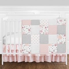 Blush Pink, Grey and White Shabby Chic Watercolor Floral Heart Patchwork Baby Girl Nursery Crib Bedding Set without Bumper by Sweet Jojo Designs - 4 pieces