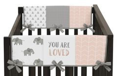 Blush Pink, Grey and White Side Crib Rail Guards Baby Teething Cover Protector Wrap for Watercolor Elephant Safari Collection by Sweet Jojo Designs - Set of 2