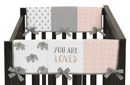 Blush Pink, Grey and White Side Crib Rail Guards Baby Teething Cover Protector Wrap for Watercolor Elephant Safari Collection by Sweet Jojo Designs - Set of 2 - Click to enlarge