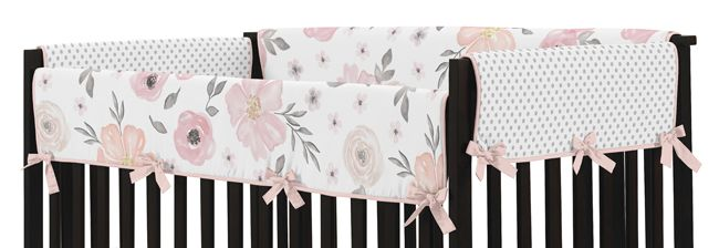 Sweet Jojo Designs Hot Pink And White Chevron Zig Zag Long Front Rail Guard Baby Teething Cover Crib Protector Wrap Bedding