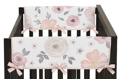 Blush Pink, Grey and White Side Crib Rail Guards Baby Teething Cover Protector Wrap for Watercolor Floral Collection by Sweet Jojo Designs - Set of 2 - Click to enlarge